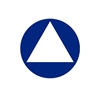 "All Gender Restroom Sign AGH-U3 Contrasting Triangle on Circle 12"" Diameter - Blue"