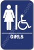 "Restroom Girls Handicap Sign Blue 1514 Girls Handicap Sign  ADA sign 6"" x 9"" with braille white on blue."