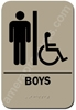 Restroom Sign Handicap Boys Taupe 2312 Handicap Boys restroom sign men, mens restroom sign, ADA mens restroom sign