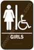 Restroom Sign Handicap Girls Brown 3814 restroom sign Girls handicap, womens handicap restroom sign, ADA women restroom sign handicap