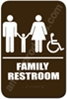 Restroom Sign Family Handicap Brown 3836 restroom sign Family, Family restroom sign, ADA unisex restroom sign