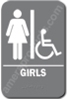 Restroom Sign Handicap Girls Grey 4414 Handicap restroom sign Girls , Girls restroom sign, ADA Girls restroom sign