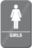 Restroom Sign Girls  Grey 4416 restroom sign Girls , Girls restroom sign, ADA Girls restroom sign