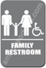 Restroom Sign Family Handicap Grey 4436 restroom sign Family, Family restroom sign, ADA unisex restroom sign