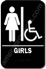 Restroom Sign Girls Handicap Black 5314 restroom sign handicap Girls , Girls restroom sign, ADA Girls restroom sign
