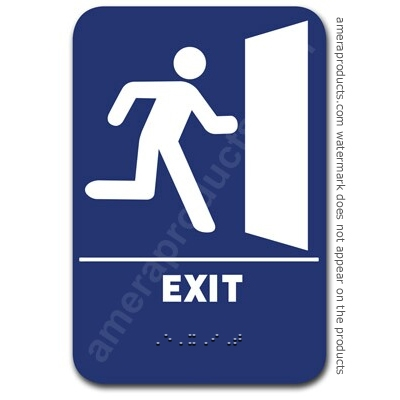 Exit w/ Image Sign Blue 1515