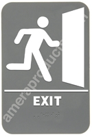 Exit w/ Image Sign Grey 4415 Exit sign, ADA Exit sign