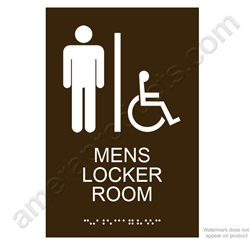 Brown Mens Locker Room Sign
