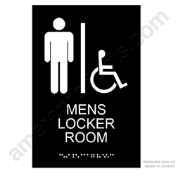 Mens Locker Room Sign Black