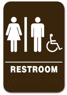 Restroom Sign Unisex Handicap Brown 3806 Ep 3806