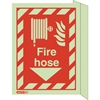 "Jalite Aluminum Flag Mounted Photoluminescent ""Fire Hose"" ID Sign - Double Sided JAL-SBA6044FSD"