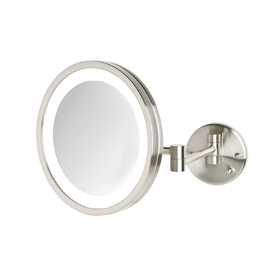 Jerdon Hl1016nl 5x Led Halo Lighted Wall Mounted Mirror Nickel Js