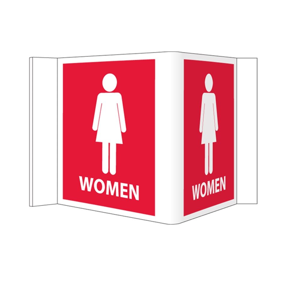 Visi Sign Women S 3 D Restroom Sign Red 5 3 4 Quot X 8 3 4